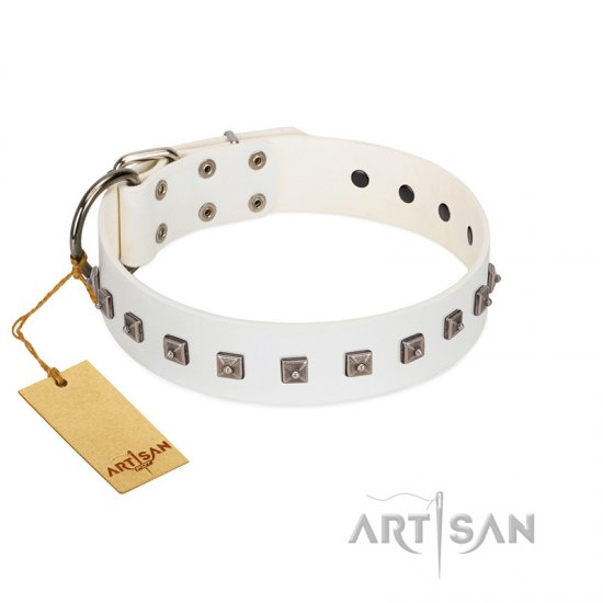 """True Grace"" Premium Quality FDT Artisan White Designer Leather Mastiff Collar"