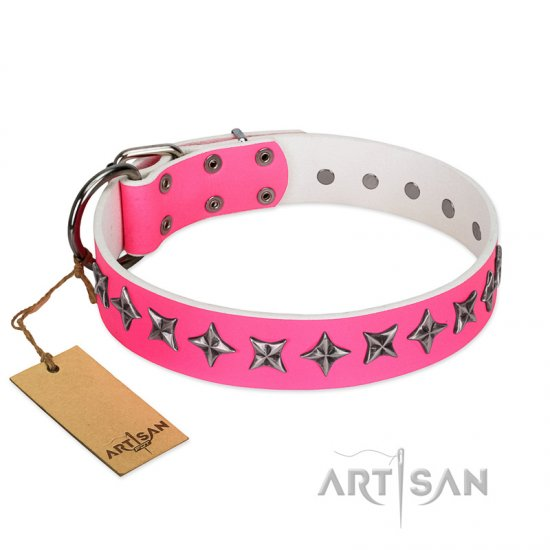 """Star Dreams"" FDT Artisan Pink Leather Mastiff Collar with Silver-like Stars"