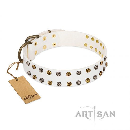 """Crystal Night"" FDT Artisan White Leather Mastiff Collar with Two Rows of Small Studs"