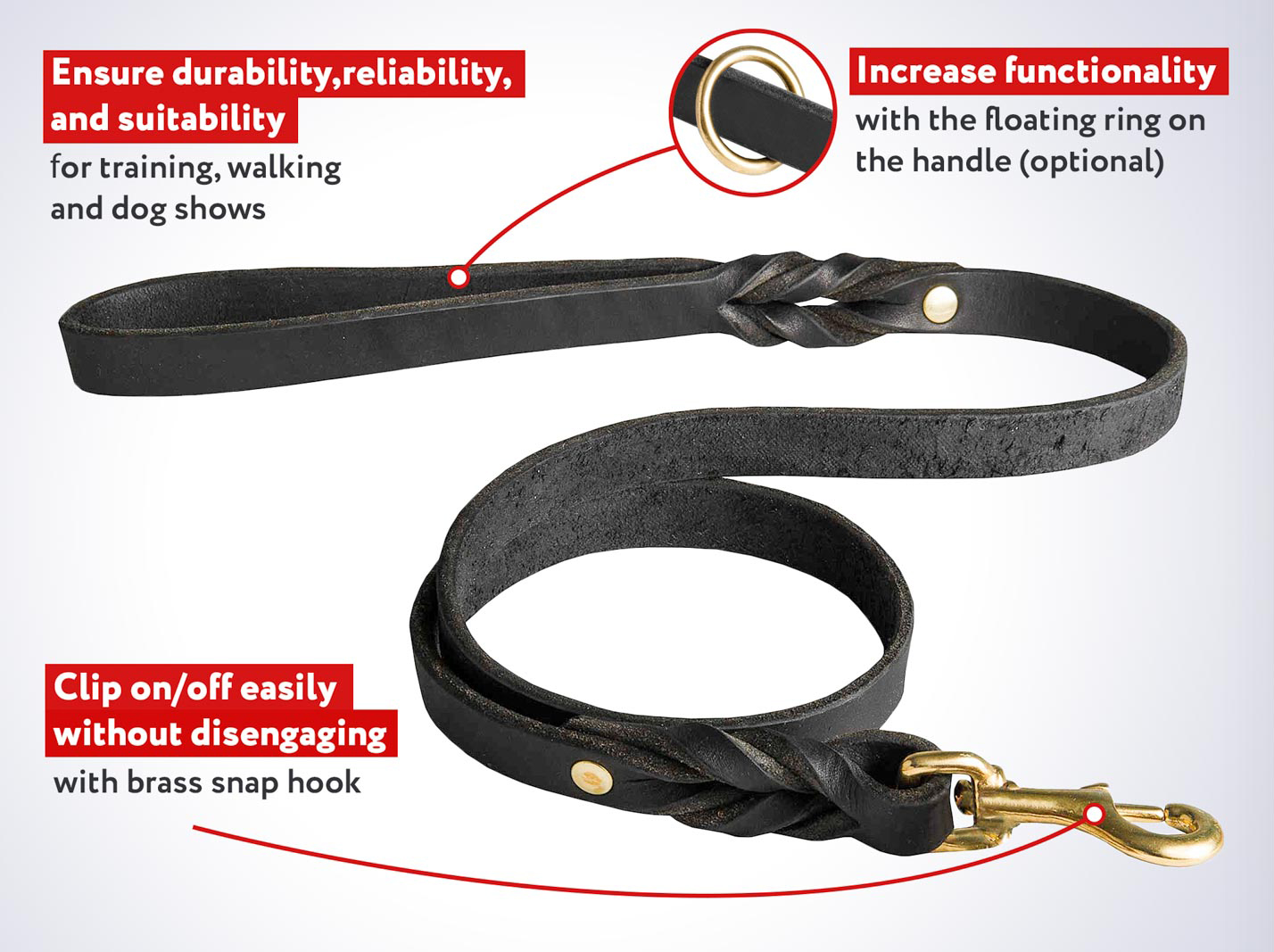 Durable Leash made of Leather for Mastiff