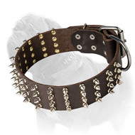 Eye-Catching Mastiff Dog Collar with 4 Rows of Spikes