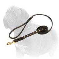Fantastic Multitasking Leather Dog Leash with Braids and Studs for Mastiff Breed