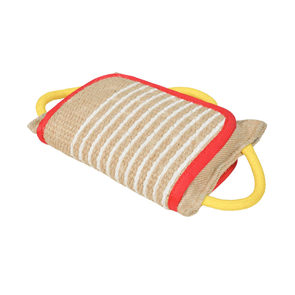 Jute Mastiff bite pad with 3 comfy handles