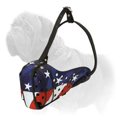 Colorful American Flag Leather Pitbull Muzzle