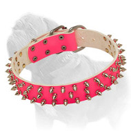 Super Spiked Pink Leather Dog Collar for Walking Mastiff Ladies