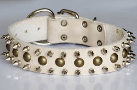 Big leather dog collar with Spikes-spiked dog collar for large breeds