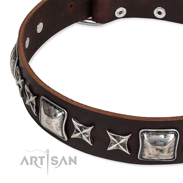 Genuine leather dog collar with embellishments for easy wearing