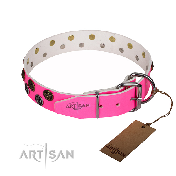 Handy use leather collar with studs for your pet