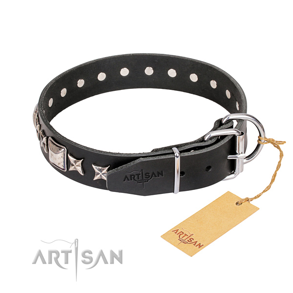 Stylish walking full grain genuine leather collar with studs for your canine