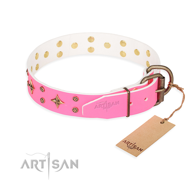 Handy use full grain leather collar with studs for your four-legged friend