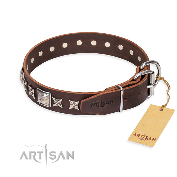Daily walking genuine leather collar with decorations for your four-legged friend