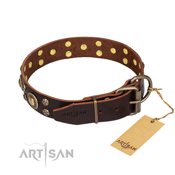 Everyday use natural genuine leather collar with embellishments for your four-legged friend