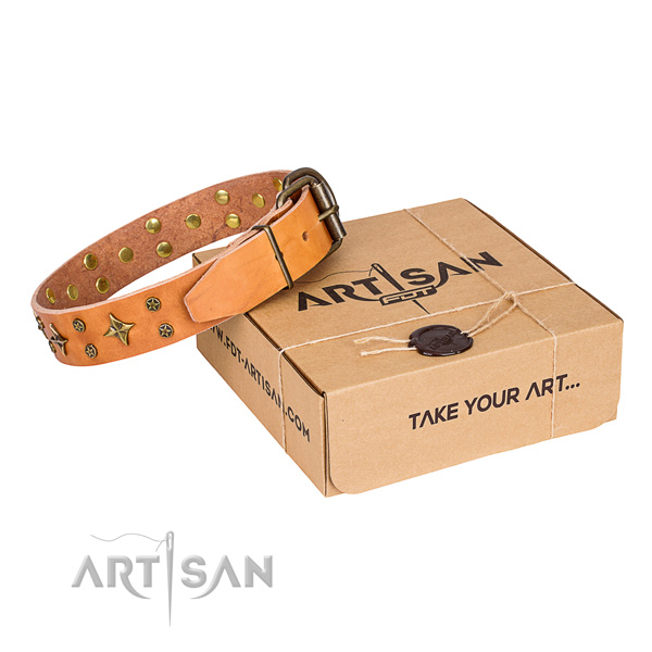 Adorned natural genuine leather dog collar for handy use