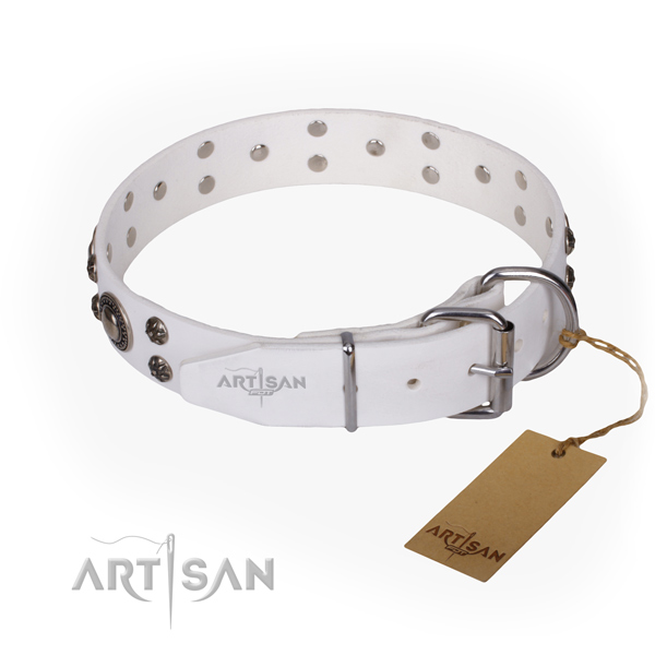 Daily walking genuine leather collar with decorations for your dog
