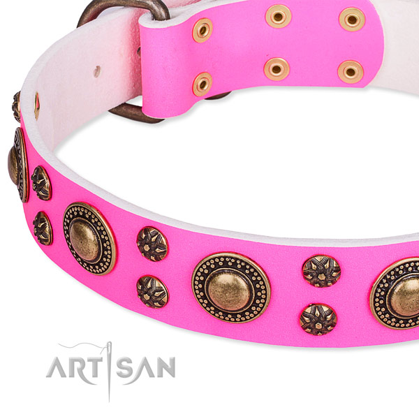 Natural genuine leather dog collar with fashionable decorations