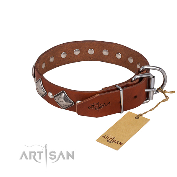 Resistant leather dog collar with corrosion-resistant hardware