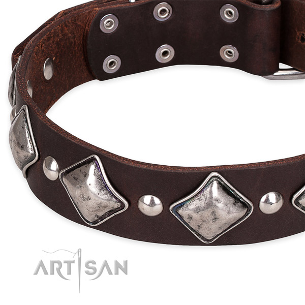 Easy to adjust leather dog collar with resistant chrome plated buckle