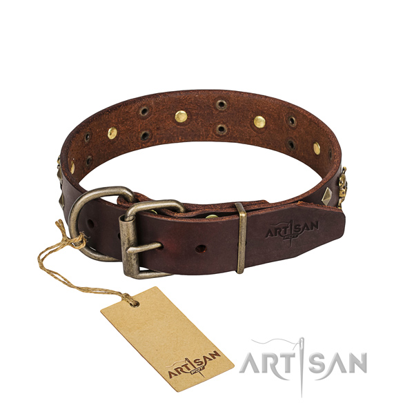 Hardwearing leather dog collar with riveted fittings for Mastiff