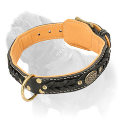 Soft Leather Braided Mastiff Dog Collar