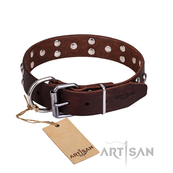 Leather dog collar with rounded edges for convenient strolling