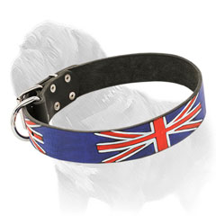 Mastiff dog collar painted in British style with waterproof paints