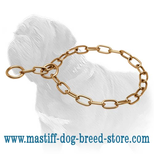 Dog metal choke collar with fur-saving links