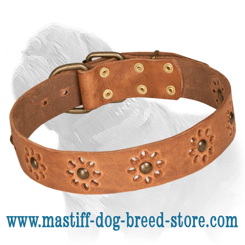 Leather dog collar, flower print