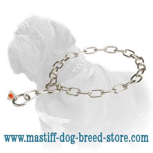 Dog metal collar with fur-saving links
