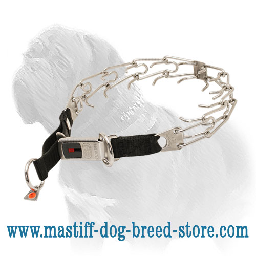 Prong collar with quick-lock buckle
