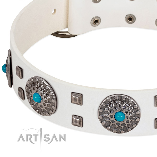 Soft to touch full grain genuine leather dog collar with exceptional decorations