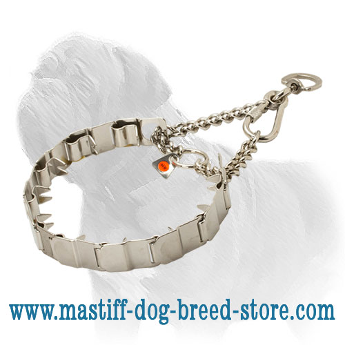 Dog neck tech collar for Masiff, snap hook with swivel