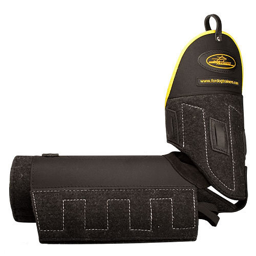 Training bite sleeve with plastic shoulder protection