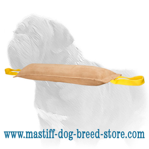 Mastiff bite tug, smooth leather surface