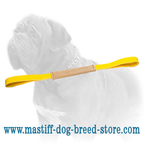 Leather dog bite tug with nylon loops for Mastiff training