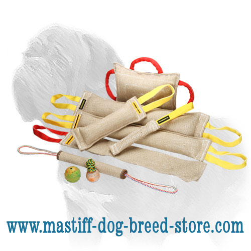 4 jute tugs, rag and bite pad in one big dog training set