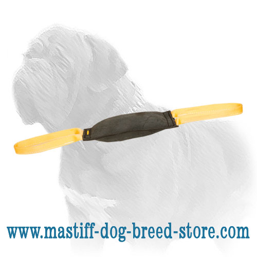 Leather bite tug for large dog breeds