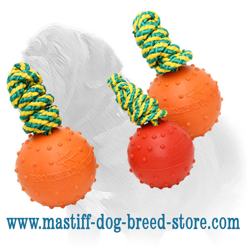 Mastiff rubber ball with ribbed surface and string