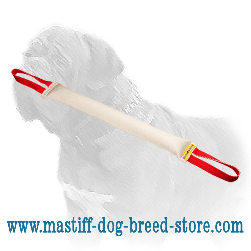 Mastiff dog training fire hose tug with 2 loops