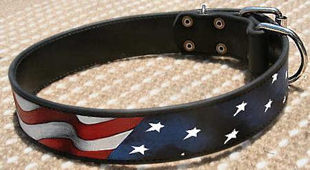 American Flag Dog Collar for Mastiff -Leather usa collar