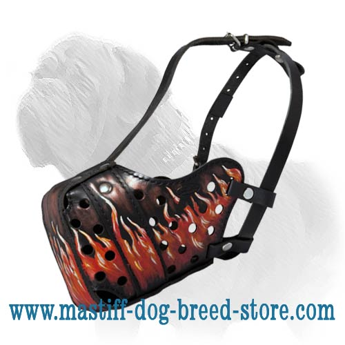 High Quality Hand-Painted Leather Dog Muzzle for Attack Training