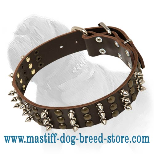 Fashionable and Exquisite Leather Collar for Strong Mastiff - Leather Masterpiece with Spikes and Studs