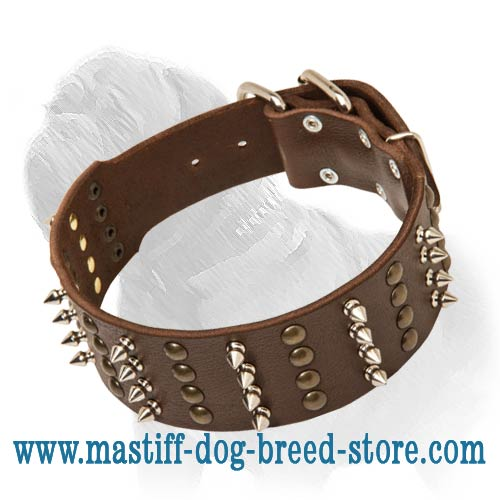 Super Wide Leather Dog Collar with Spikes and Studs for fashion Mastiff Walking