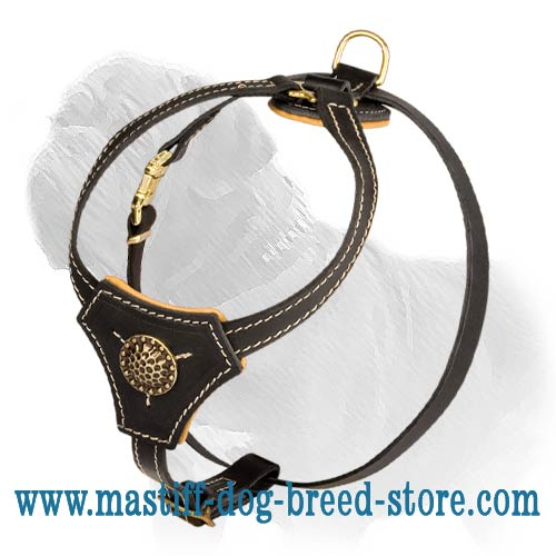 Comfortable Leather Dog Harness for Mastiff Puppy