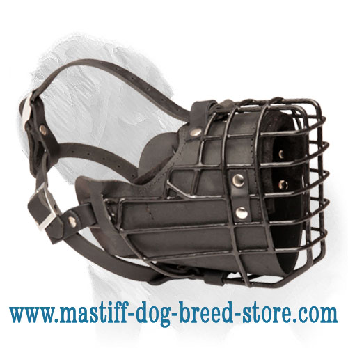 Leather Padded Wire Cage Muzzle with Rubber Coating for Winter Mastiff Agitation Training