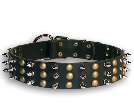 big sizes spiked and studded leather dog collars