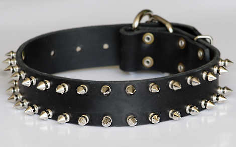 big leather spiked dog collar,black,brown spiked collar