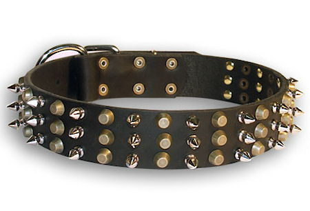 Leather dog collar with 3spikes+3old brass pyramids for big dods