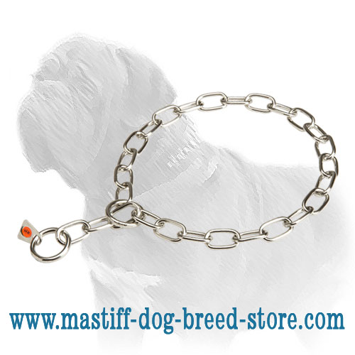 Mastiff Dog Steel Collar with Fur-Saving Links