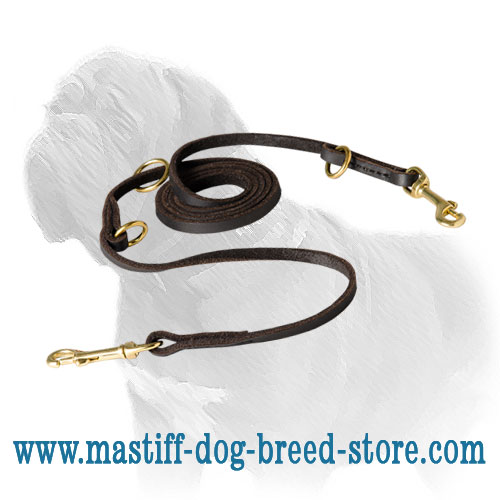 Extra Soft Leather Mastiff Dog Leash