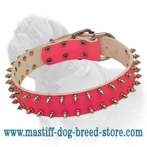 Girlish Pink Mastiff Dog Collar with Two Rows of Spikes